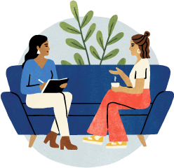 Two people sitting down talking icon